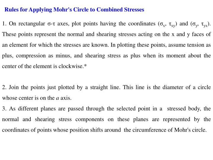 Rules for Applying Mohr's Circle to Combined Stresses