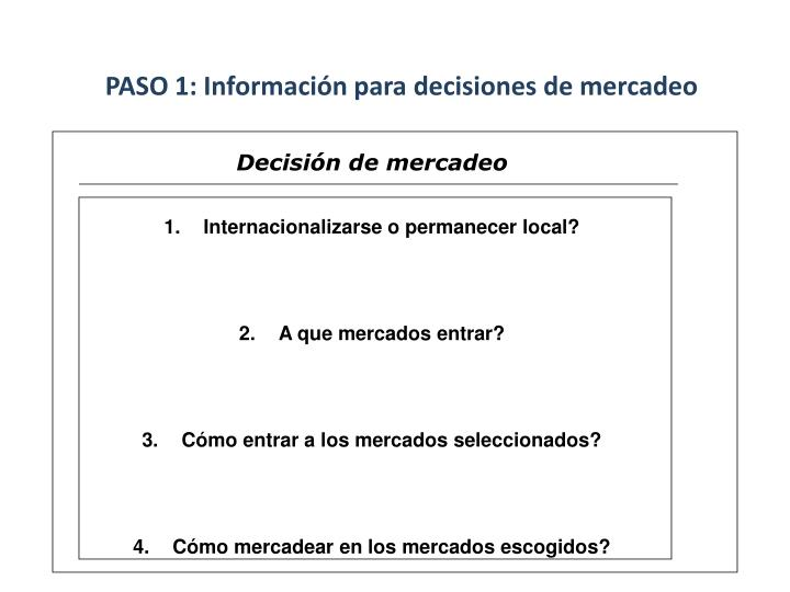 PASO 1: Información para decisiones de mercadeo