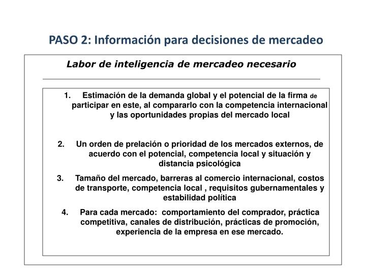 PASO 2: Información para decisiones de mercadeo