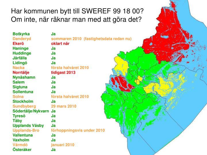 Har kommunen bytt till sweref 99 18 00 om inte n r r knar man med att g ra det
