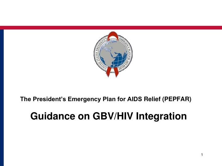the president s emergency plan for aids relief pepfar guidance on gbv hiv integration n.