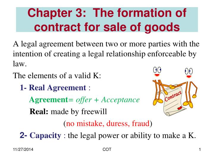 chapter 3 the formation of contract for sale of goods n.