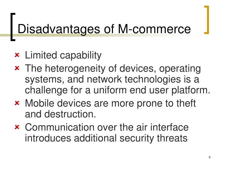 Disadvantages of M-commerce