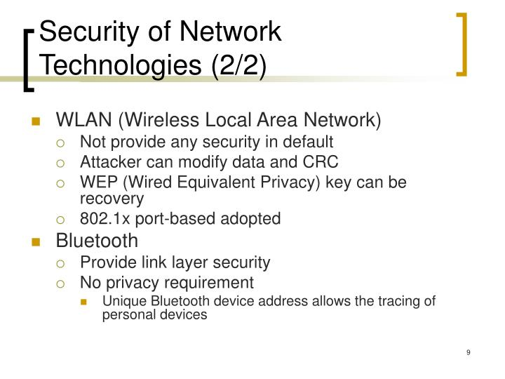 Security of Network Technologies (2/2)