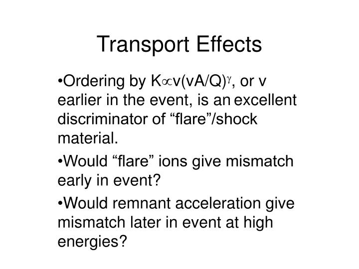 Transport Effects
