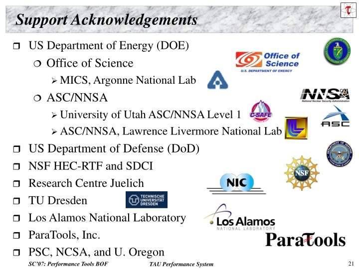 Support Acknowledgements