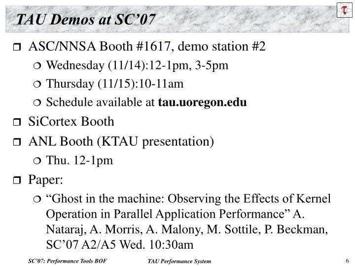TAU Demos at SC'07