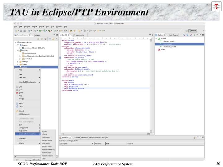 TAU in Eclipse/PTP Environment