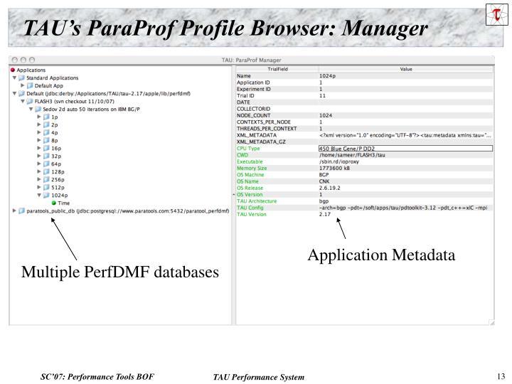 TAU's ParaProf Profile Browser: Manager