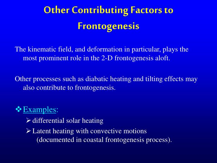 Other Contributing Factors to Frontogenesis