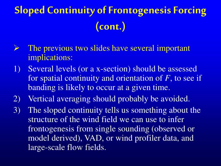 Sloped Continuity of Frontogenesis Forcing (cont.)