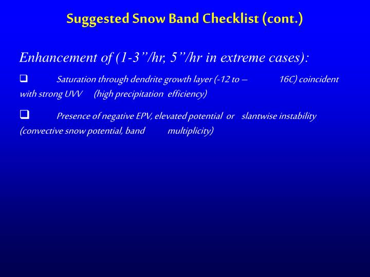 Suggested Snow Band Checklist (cont.)