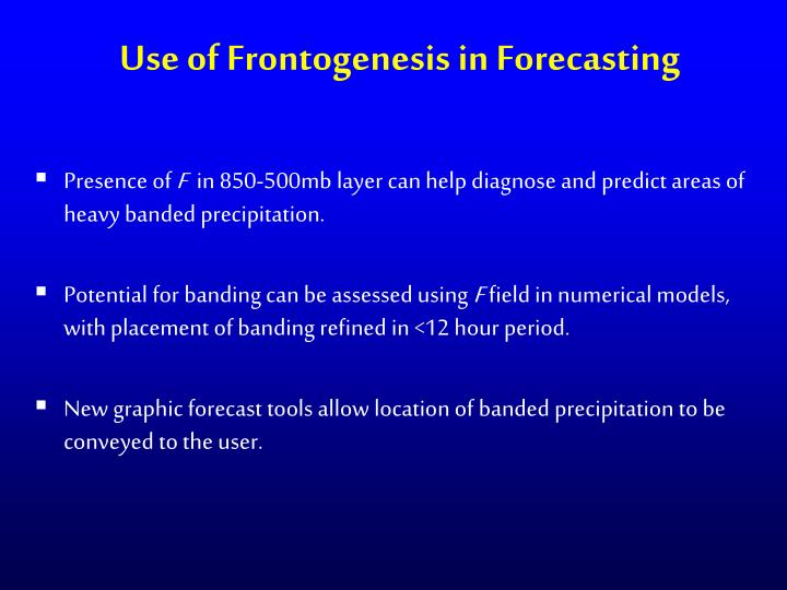 Use of Frontogenesis in Forecasting