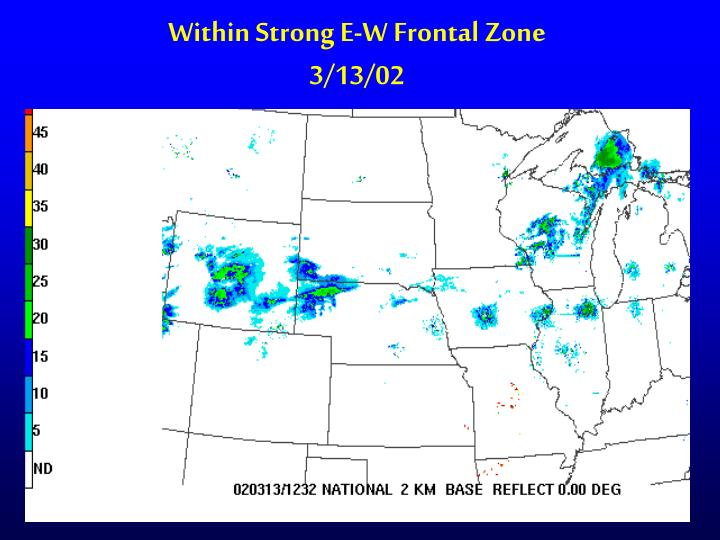 Within Strong E-W Frontal Zone
