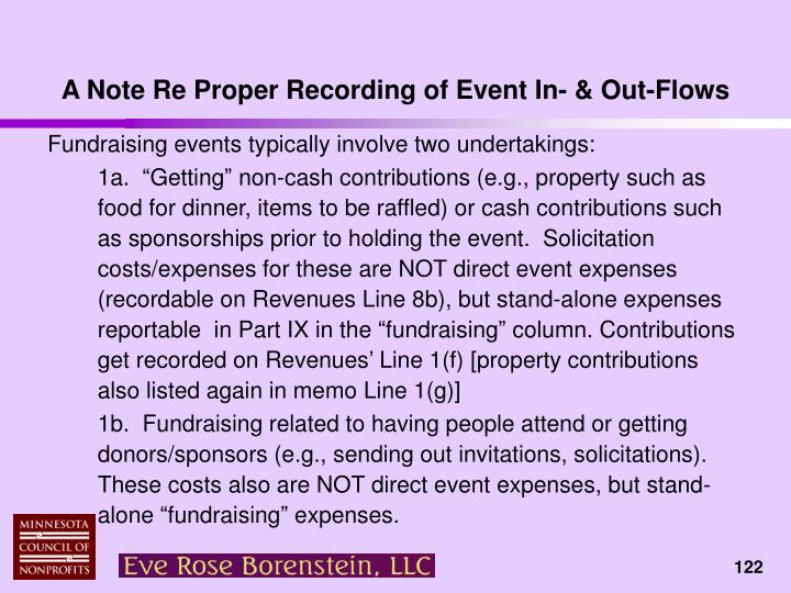 A Note Re Proper Recording of Event In- & Out-Flows