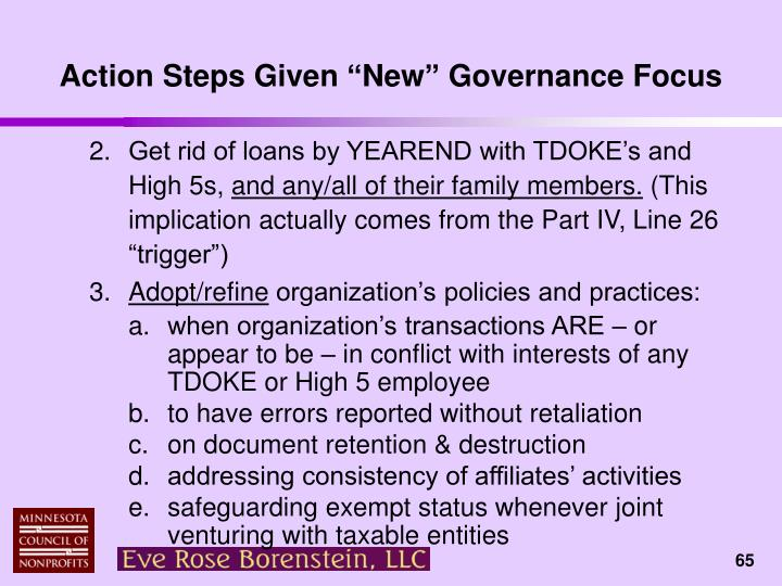 """Action Steps Given """"New"""" Governance Focus"""