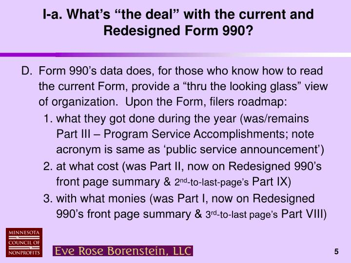 """I-a. What's """"the deal"""" with the current and Redesigned Form 990?"""