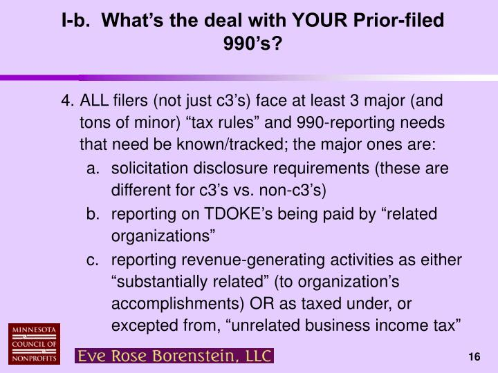 I-b.  What's the deal with YOUR Prior-filed 990's?