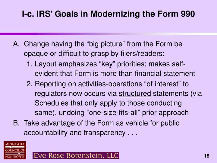 I-c. IRS' Goals in Modernizing the Form 990