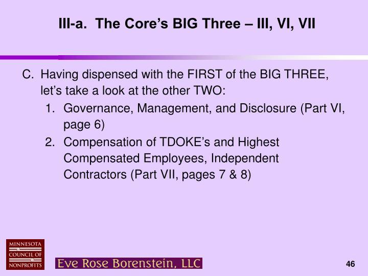 III-a.  The Core's BIG Three – III, VI, VII