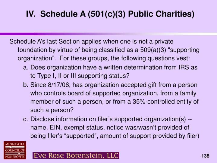 IV.  Schedule A (501(c)(3) Public Charities)