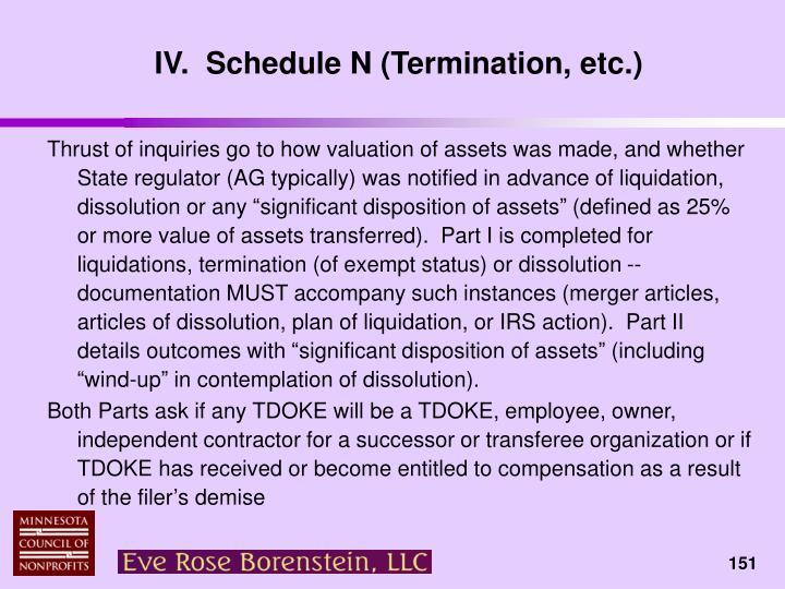 IV.  Schedule N (Termination, etc.)