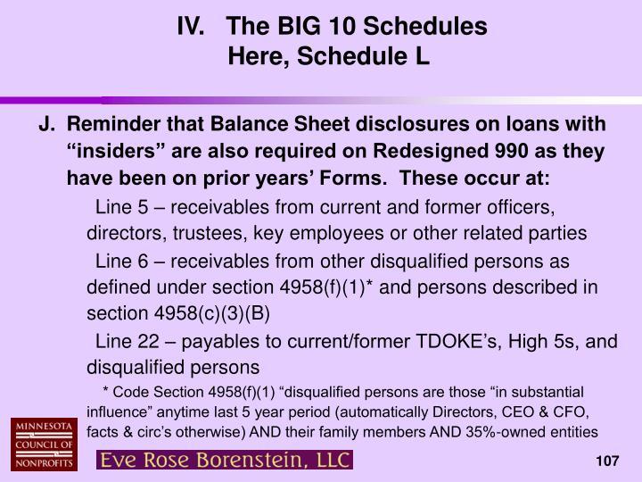 IV.   The BIG 10 Schedules