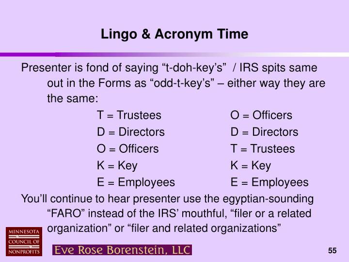 Lingo & Acronym Time