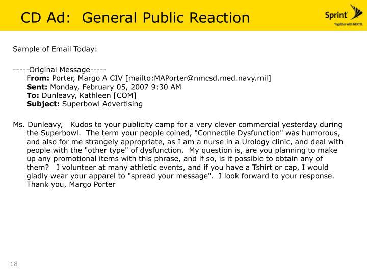 CD Ad:  General Public Reaction