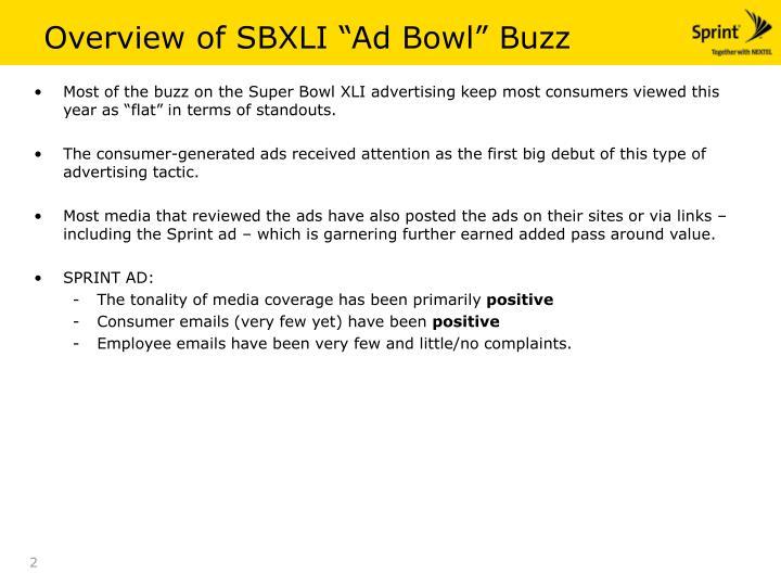 Overview of sbxli ad bowl buzz