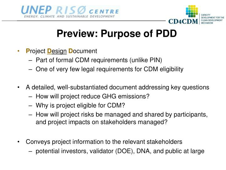 Preview: Purpose of PDD