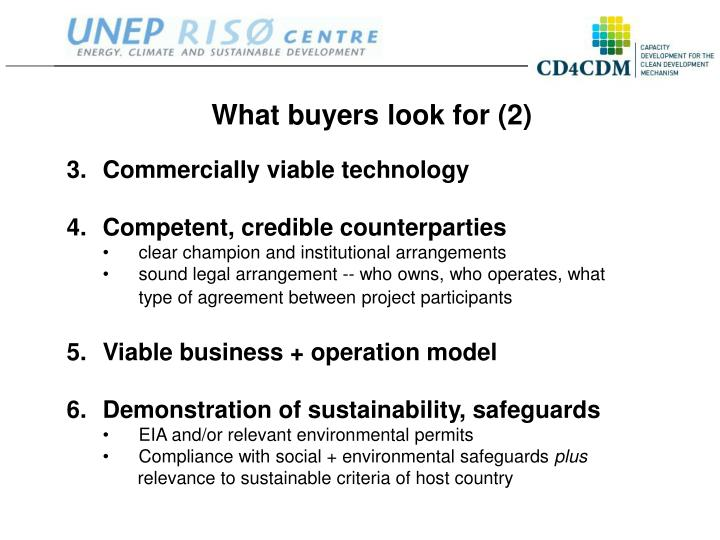 What buyers look for (2)