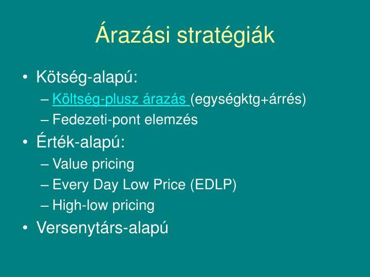 Árazási stratégiák