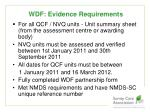 wdf evidence requirements