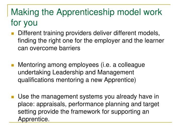 Making the Apprenticeship model work for you