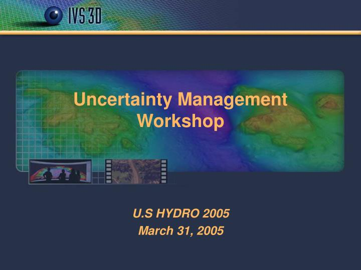 Uncertainty management workshop