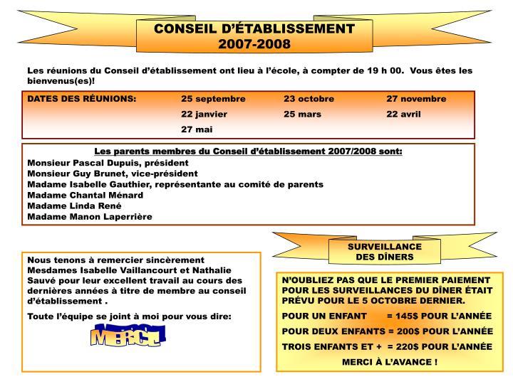 CONSEIL D'ÉTABLISSEMENT