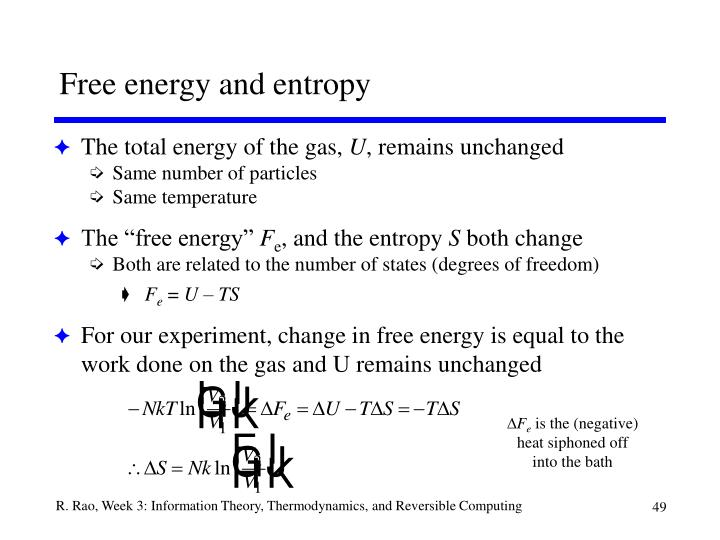 Free energy and entropy