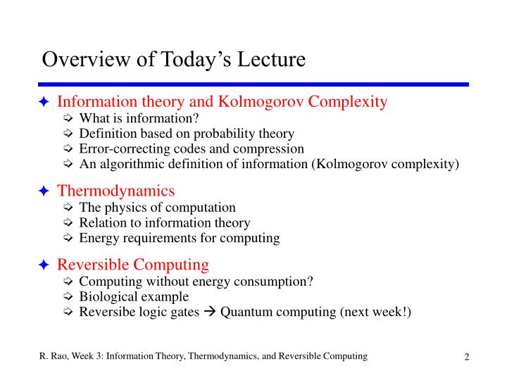Overview of today s lecture