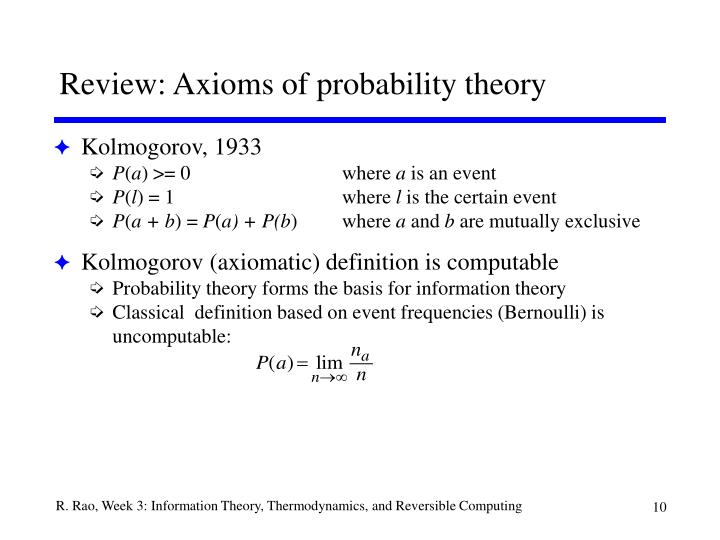 Review: Axioms of probability theory