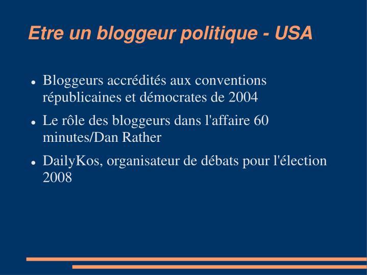 Etre un bloggeur politique - USA