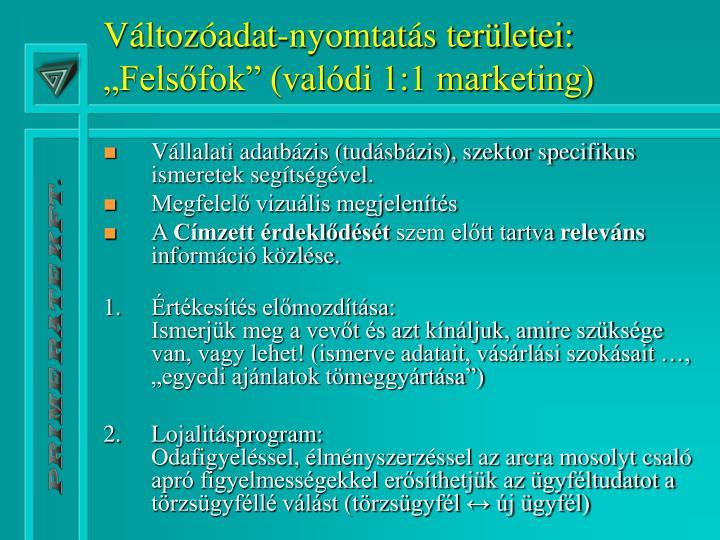 """Változóadat-nyomtatás területei: """"Felsőfok"""" (valódi 1:1 marketing)"""