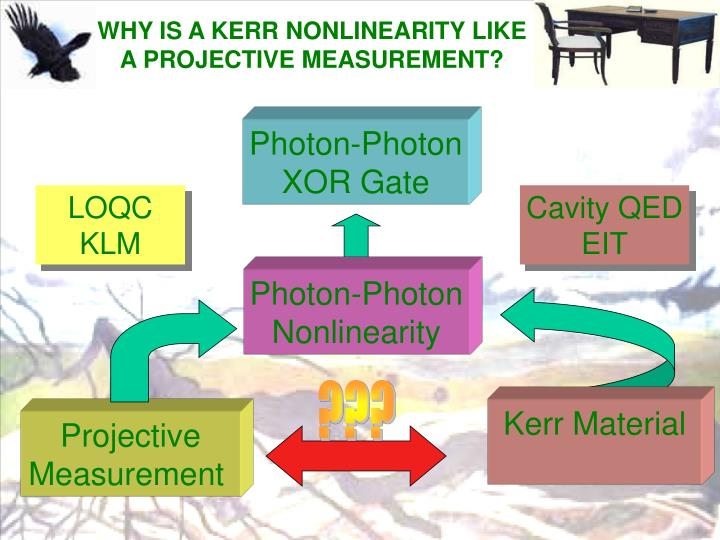 WHY IS A KERR NONLINEARITY LIKE A PROJECTIVE MEASUREMENT?