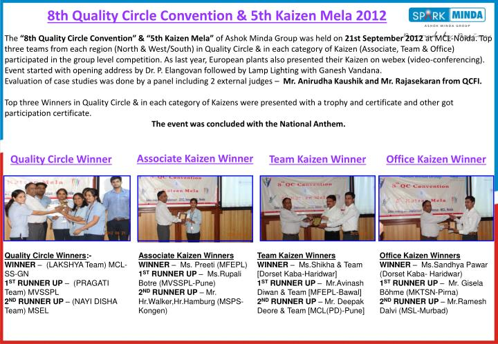 PPT - 8th Quality Circle Convention & 5th Kaizen Mela 2012
