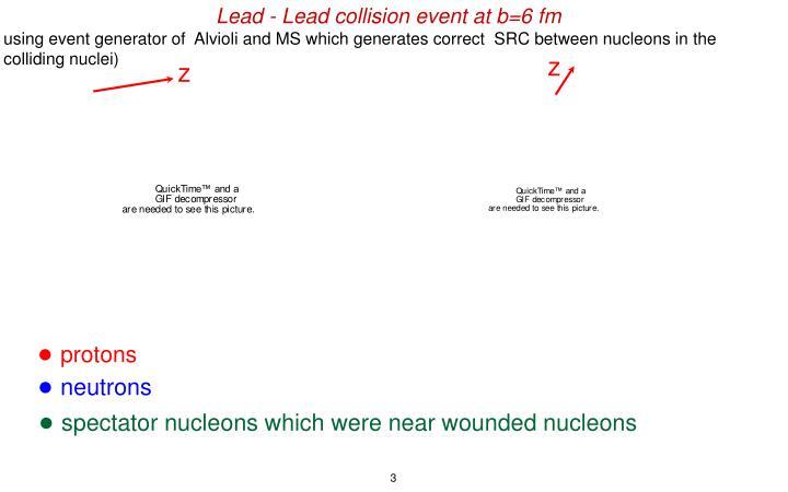 Lead - Lead collision event at b=6 fm