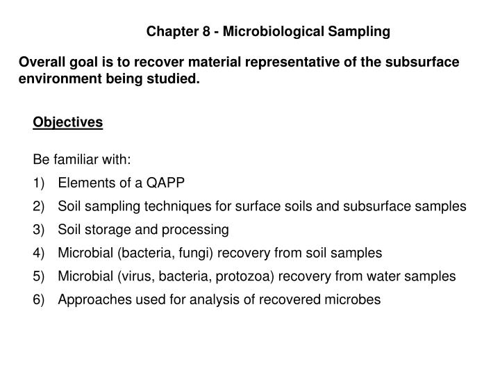 PPT - Chapter 8 - Microbiological Sampling PowerPoint