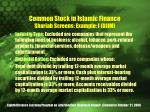 common stock in islamic finance shariah screens example i djim