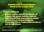 common stock in islamic finance shariah screens example ii s p