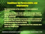 conditions for permissibility and negotiability
