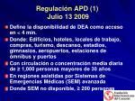 regulaci n apd 1 julio 13 2009
